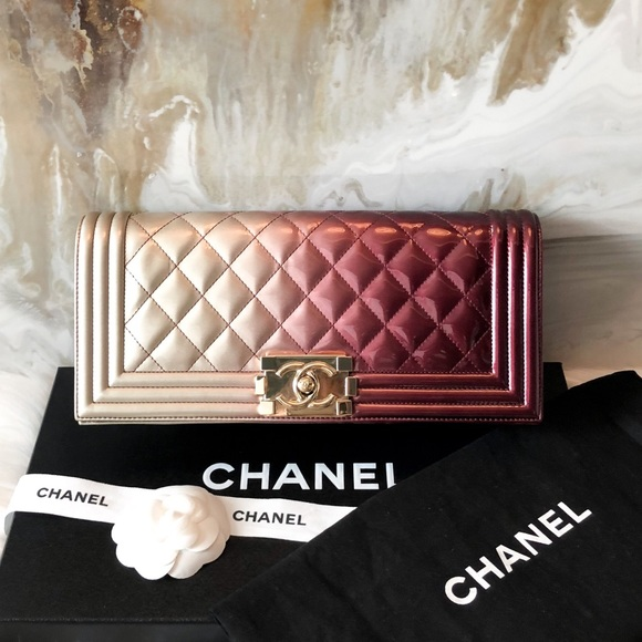 1949bf108e43 CHANEL Bags   Patent Ombr Red Gold Quilted Boy Clutch   Poshmark